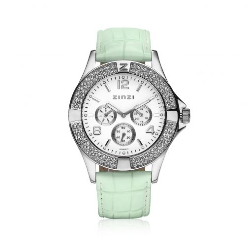 ZINZI-Watch-witte-plaat-mintgroene-band-UNO13